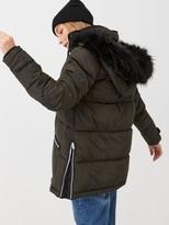 Very Faux Fur Trim Chevron Padded Coat - Khaki