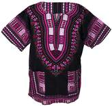 Lofbaz Traditional African Print Unisex Dashiki Size Black and Purple