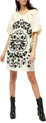 Free People Fiona Embroidered Puff Sleeve Dress