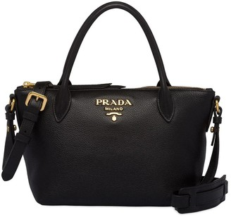 Prada Logo Plaque Top Handle Tote Bag