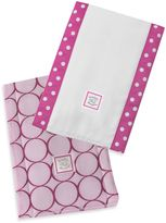 Swaddle Designs Jewel Tone Mod Circles Baby Burpies® in Very Berry (Set of 2)