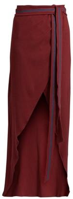 ALBUS LUMEN Porto Cotton-blend Ribbed-jersey Wrap Skirt - Burgundy