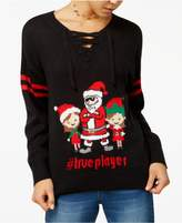 Ultra Flirt by Ikeddi Juniors' True Player Lace-Up Holiday Sweater