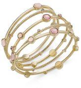 INC International Concepts Gold-Tone 5-Pc. Set Pink Stone Bangle Bracelets, Created for Macy's