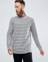 Lindbergh Long Sleeve Stripe T-Shirt In Grey