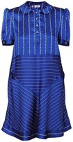 Jiri Kalfar Navy Blue & White Stripe Dress With Peter Pan Collar