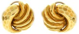 Henry Dunay 18K Yellow Gold Hammered Clip-On Earrings