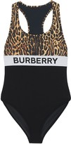 Burberry Logo And Leopard Print Swimsuit