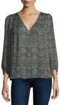 Joie Celosia 3/4-Sleeve Paisley Silk Top
