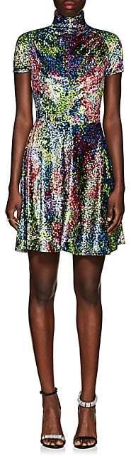 Calvin Klein Women's Dot-Pattern Velvet Fit & Flare Dress