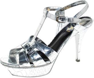 Saint Laurent Paris Metallic Silver Croc Embossed Leather Tribute Ankle Strap Sandals Size 39