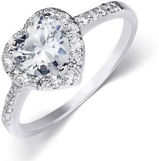 Mayamila 2 Carat Heart Shape Sterling Silver Cubic Zirconia Engagement Ring