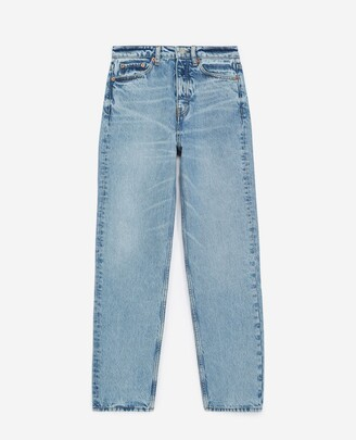 The Kooples Blue straight-cut faded jeans with high waist