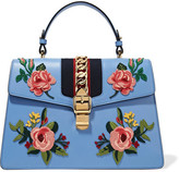 Gucci Sylvie Medium Chain-embellished Appliquéd Leather Tote - Blue