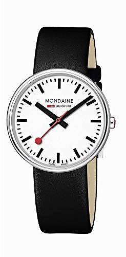 Mondaine Unisex Quartz Watch with White Dial Analogue Display and Black Leather Strap A763.30362.11SBB