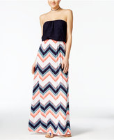 Trixxi Juniors' Crochet-Top Printed Blouson Maxi Dress