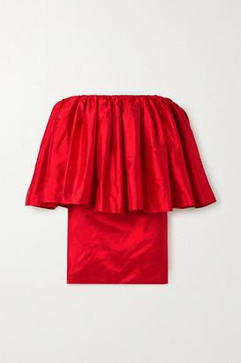 Marques Almeida Marques' Almeida - Off-the-shoulder Ruffled Silk-taffeta Mini Dress - Red