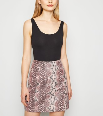 New Look Faux Snake Mini Skirt