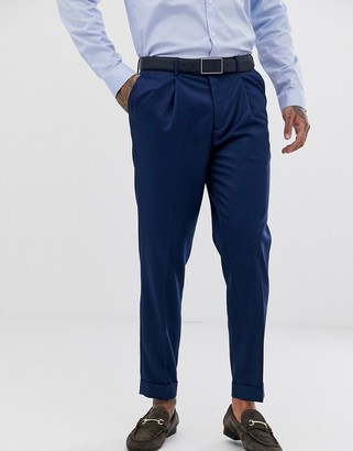 Topman skinny smart pants with turn ups in blue