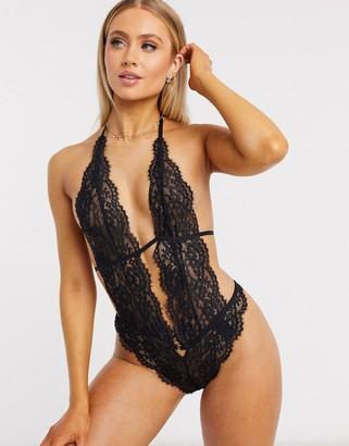 Hunkemoller Salem lace plunge bodysuit in black