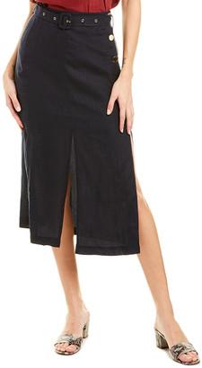 SUBOO Manny Utility Linen Midi Skirt