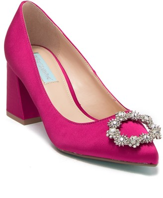Betsey Johnson Lilly Ornament Embellished Block Heel Pump