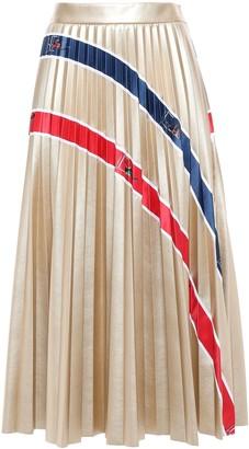Stella Jean Pleated Faux Leather Midi Skirt