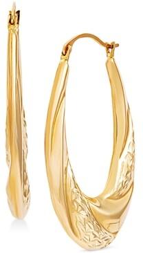 Macy's Swirl Look Oval Hoop Earrings in 14k Gold