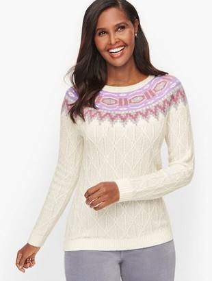 Talbots Cableknit Fair Isle Yoke Sweater