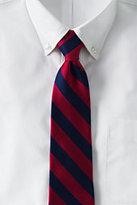 Lands' End Men's Long Wide Stripe Necktie-Dark Sapphire/Burgundy