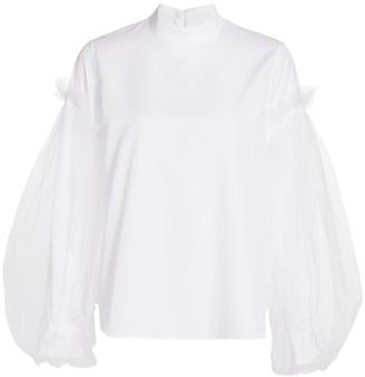 Noir Kei Ninomiya Tulle Puff-Sleeve Poplin Shirt