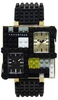 Nanoblocktime Traveler Metal Watch, Black and Gold