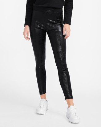 Express High Waisted Croc-Embossed Leggings