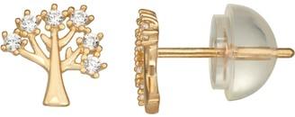 Junior Jewels Kids' 10k Gold Cubic Zirconia Tree Stud Earrings