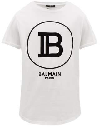 Balmain Flocked-monogram Cotton T-shirt - Mens - White