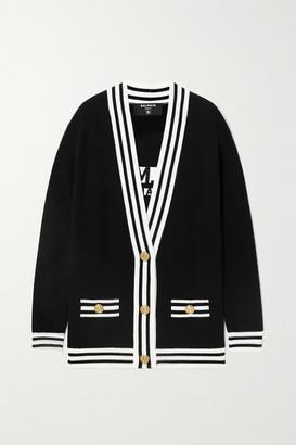 Balmain Two-tone Intarsia Wool-blend Cardigan - Black