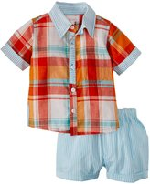 Masala Neat Shirt 2 Piece Set (Baby) - Orange-18-24 Months