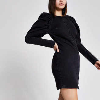 River Island Black puff long sleeve denim mini dress