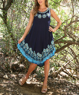 Ananda's Collection Women's Casual Dresses navy/blue - Navy & Blue Floral Embroidered Semi-Sheer Sleeveless Dress - Women