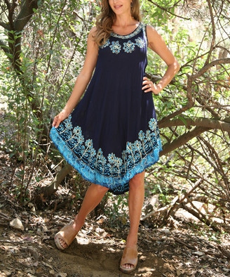 Ananda's Collection Women's Casual Dresses navy/blue - Navy & Blue Floral Embroidered Sleeveless Dress - Women