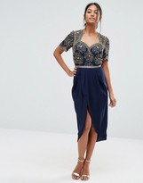 Virgos Lounge Embellished Midi Dress With Ruched Tulip Skirt