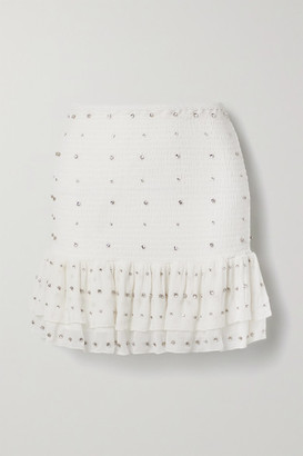 retrofete Lucille Crystal-embellished Shirred Silk-crepon Mini Skirt - White