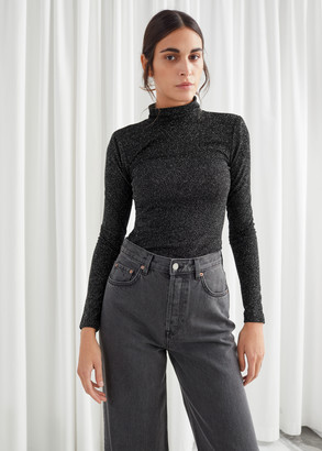 And other stories Fitted Turtleneck Glitter Sweater