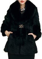 Helan Apparel Helan Women's Long Real Rabbit Fur Coat With Big Real Fox Fur Collar US