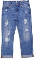 7 For All Mankind Girls' Skinny Crop & Roll Distressed Jeans