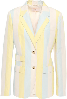 Tory Burch Striped Silk And Linen-blend Blazer