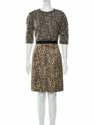 Giambattista Valli Animal Print Knee-Length Dress Brown
