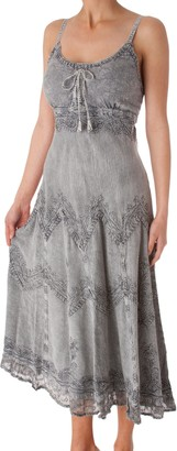 Sakkas AA4012 Stonewashed Rayon Embroidered Adjustable Spaghetti Straps Long Dress (Various Colors & Sizes) - Steel Blue/S/M