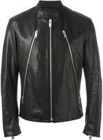 Maison Margiela zip detail biker jacket - men - Cotton/Leather - 56