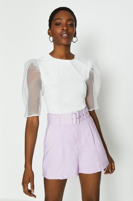 Coast Short Sleeve Organza Puff Sleeve Top